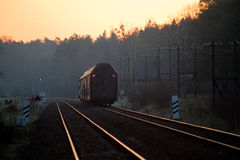 Passenger train passing through the forest Stock Photography