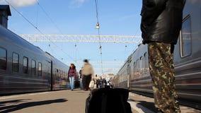 Passenger train on the Paveletsky Station platform. stock footage
