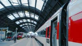 Passenger train, platform. 18.06.2016 - Milan Italy Passenger train platform Rail station people stock footage