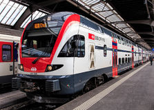Passenger train at the platform of Zurich main railway station Royalty Free Stock Photo