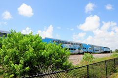 Passenger train pulling in station, Florida Royalty Free Stock Images