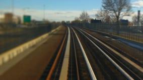 Passenger Train Rear View Tilt Shift stock video footage