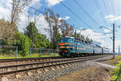Passenger train rushes Royalty Free Stock Photography