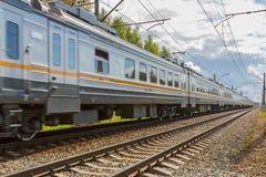 Passenger train rushes Stock Photo