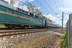 Passenger train rushes Royalty Free Stock Image