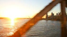 Passenger Train Scenery Bridge Sunset stock footage