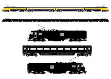 Passenger train silhouette. Simplified passenger train silhouette. Side view. Flat vector Stock Photos