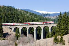 Passenger train, Slovakia. Passenger train on railway viaduct near Telgart, Slovakia Royalty Free Stock Images