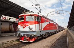 Passenger train at the station Royalty Free Stock Images
