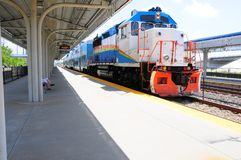 Passenger train in station, Florida Stock Photos