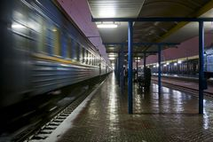 Passenger train at the station Stock Photos