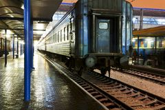 Passenger train at the station Stock Image