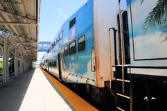 Passenger train in station, South Florida Stock Photo