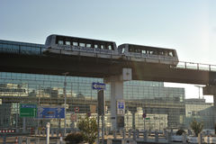 Passenger train between terminals in airport Stock Photos