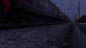 Passenger train, Trans-Siberian Railway. Novosibirsk region, Russia - December 4, 2015: Trans-Siberian Railway. Full HD Resolution 1920×1080 Video Frame Rate 29 stock footage