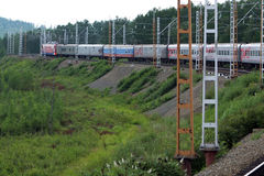 Passenger train.  Travel and tourism in Russia. Royalty Free Stock Photos
