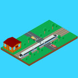 Passenger train traveling through the railroad crossing. Vector illustration. High-speed passenger train traveling through the railroad crossing. House train the vector illustration