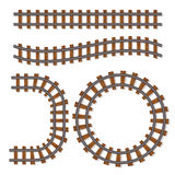 Passenger Train Vector Rail Tracks Brush, Railway Line Or Railroad Elements Isolated On White Background Royalty Free Stock Photography
