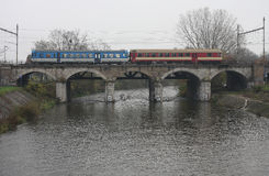 The Passenger train on viaduct Royalty Free Stock Photos