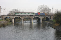 The Passenger train on viaduct Royalty Free Stock Photography