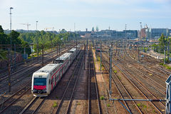 Passenger trains Stock Images