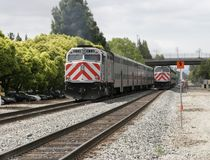 Passenger trains. Train passing another train Stock Photography
