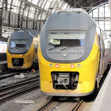 Passenger trains in Amsterdam. Central Station, Netherlands, Europe stock photos