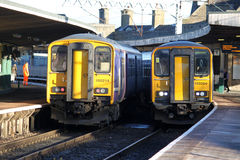 Passenger trains at Carnforth station. Stock Image