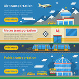 Passenger Transportation Horizontal Banners Stock Photos