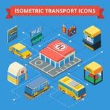 Passenger Transportation Isometric Flowchart Stock Image