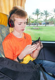Passenger traveler boy is traveling by bus. Stock Photos