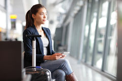 Passenger Traveler Woman In Airport Royalty Free Stock Photography