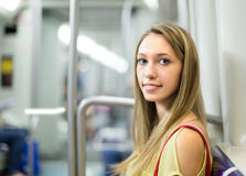 Passenger traveling in train of metro Royalty Free Stock Images