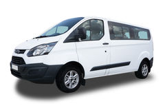 Passenger Van. Big White Passenger Van Isolated on White Background Stock Photography