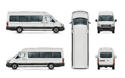 Passenger van template. White van vector template. Isolated passenger mini bus. All elements in the groups have names, the view sides are on separate layers stock illustration