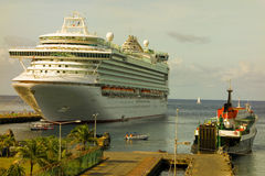 A passenger vessel at kingstown harbor in the caribbean Stock Image
