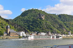 190-passenger Viking Tor vessel cruising leisurely along Rhine River Royalty Free Stock Images