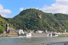 190-passenger Viking Tor vessel cruising leisurely along Rhine River Royalty Free Stock Images