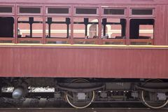 Passenger wagon of old steam train. Still functioning as a tourist attraction Stock Photo
