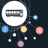 Passenger Wagons. Train icon with the background to the point and infographic style. Passenger Wagons. Train icon with the background to the point and with Royalty Free Stock Photo