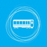 Passenger Wagons. Train icon on a blue background with abstract circles around and place for your text. Illustration Stock Image