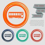 Passenger Wagons. Train icon on the red, blue, green, orange buttons for your website and design with space text. Illustration Royalty Free Stock Images