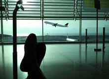 Passenger waiting in the airport (concept) Stock Image