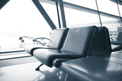 Passenger waiting chairs in airport Royalty Free Stock Photos