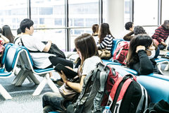 Passenger waiting for flight in Don Mueang International Airport Stock Photography