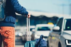 Passenger is waiting for taxi. Airport taxi. Passenger is waiting for taxi car stock photography