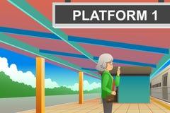Passenger Waiting at the Train Station Illustration royalty free stock images