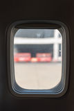 Passenger Window in a Commercial Airliner Stock Photo