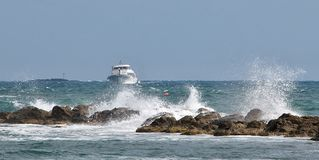 Passenger yacht speeds along the ocean. Stock Image