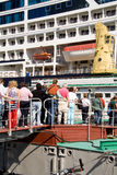 Passengers. Boarding on sea liner royalty free stock photos